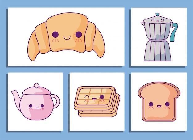 Zestaw Ikon Bajki śniadanie I Jedzenie Premium Wektorów
