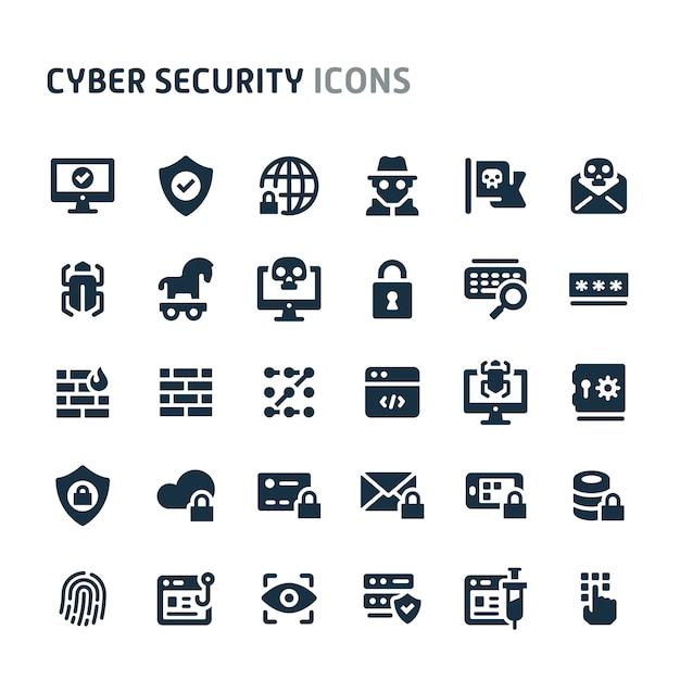 Zestaw Ikon Bezpieczeństwa Cybernetycznego. Seria Fillio Black Icon. Premium Wektorów