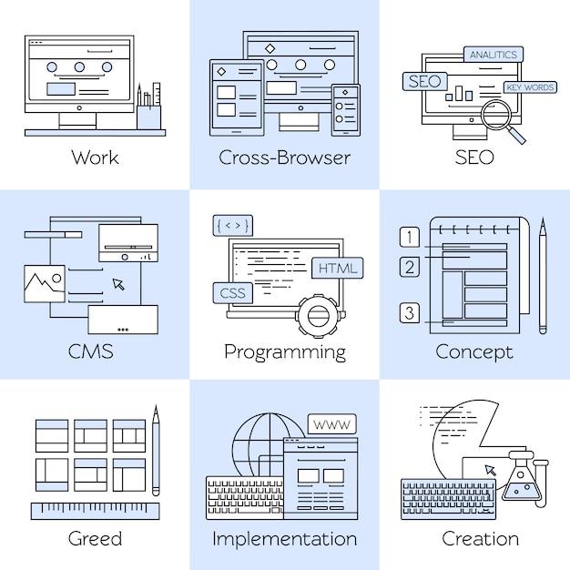 Zestaw Ikon Biały Linia Web Design Darmowych Wektorów