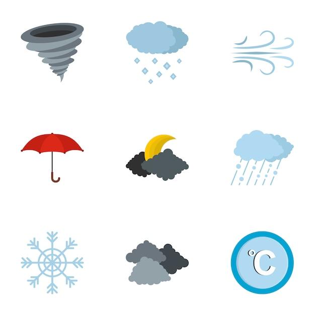 Zestaw ikon biura meteorologicznego, płaski Premium Wektorów