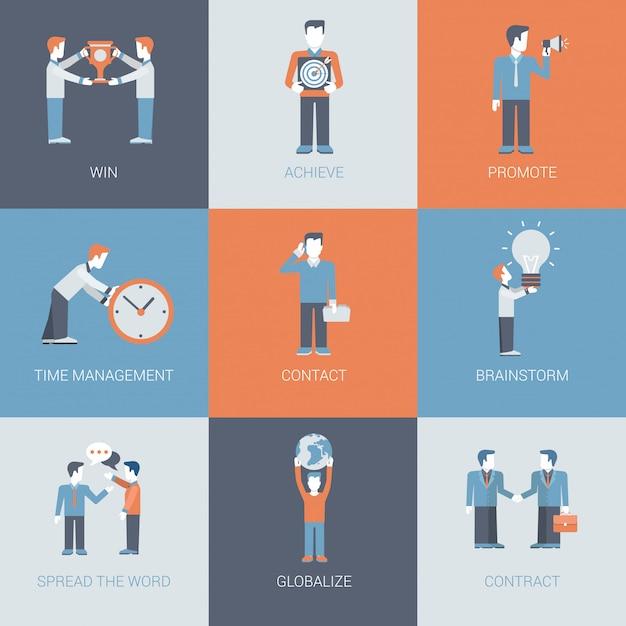 Zestaw Ikon Biznesowych I Promocyjnych Sytuacji Marketingowych Firmy. Darmowych Wektorów