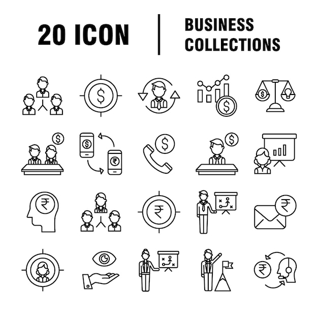 Zestaw Ikon Biznesowych. Ikony Dla Biznesu, Zarządzania, Finansów, Strategii, Marketingu. Premium Wektorów