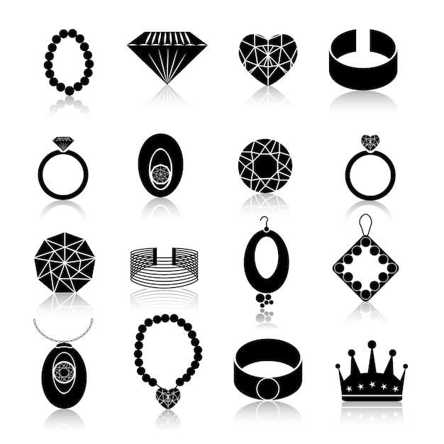 Zestaw ikon biżuterii czarny Premium Wektorów