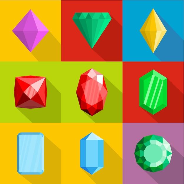 Zestaw Ikon Biżuterii. Płaski Zestaw 9 Ikon Wektorowych Biżuterii Premium Wektorów