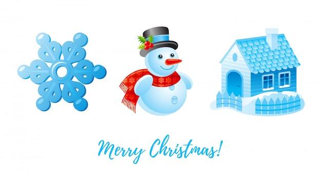 Zestaw Ikon Bożego Narodzenia. Płatek śniegu Kreskówka, Bałwan, Dom Zima śnieg. Premium Wektorów