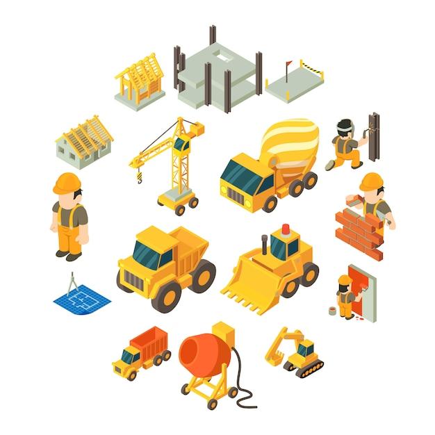 Zestaw ikon budowlanych budynku, izometryczny styl Premium Wektorów