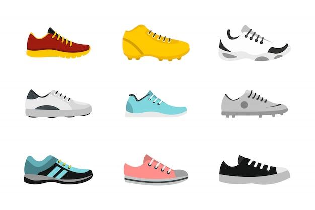 Zestaw Ikon Butów Sportowych. Płaski Zestaw Butów Sportowych Wektor Zbiory Ikony Na Białym Tle Premium Wektorów