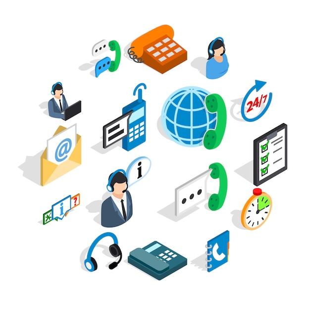 Zestaw ikon call center, izometryczny styl 3d Premium Wektorów