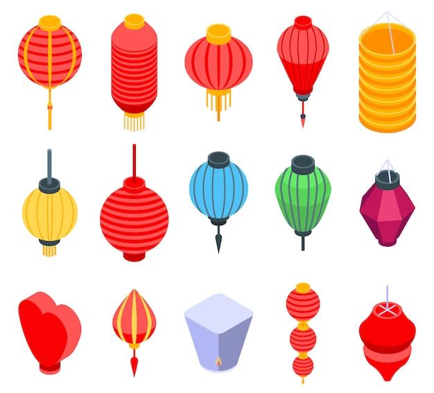 Zestaw ikon chińska latarnia, izometryczny styl Premium Wektorów