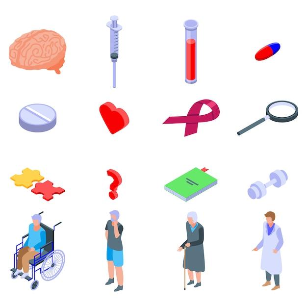 Zestaw Ikon Choroby Alzheimera, Izometryczny Styl Premium Wektorów