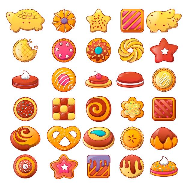 Zestaw ikon ciasteczka herbatniki Premium Wektorów
