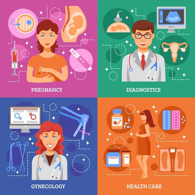 Zestaw Ikon Ciąży Darmowych Wektorów