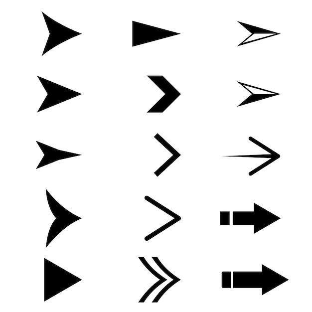 Zestaw ikon czarnej strzałki Premium Wektorów