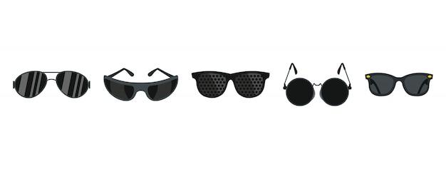 Zestaw ikon czarny okulary. płaski zestaw czarne okulary kolekcja ikon wektor na białym tle Premium Wektorów