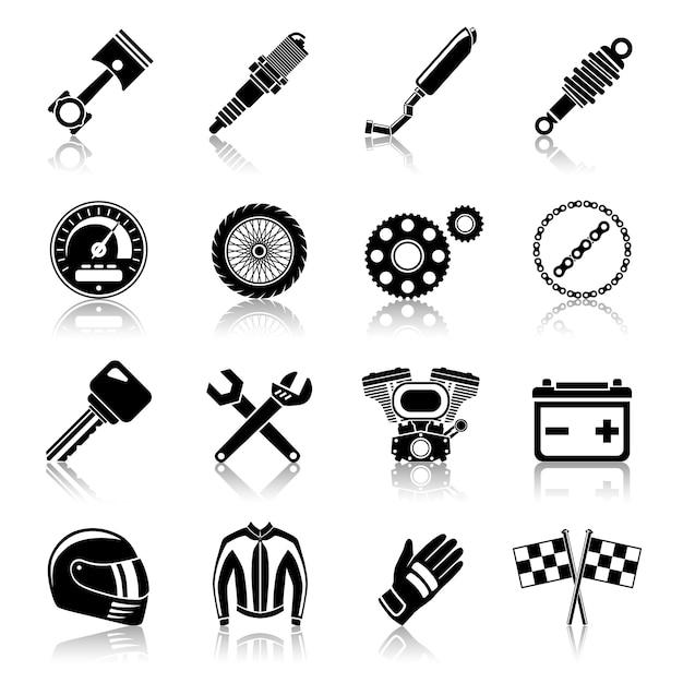 Zestaw Ikon Części Motocykla Czarny Premium Wektorów
