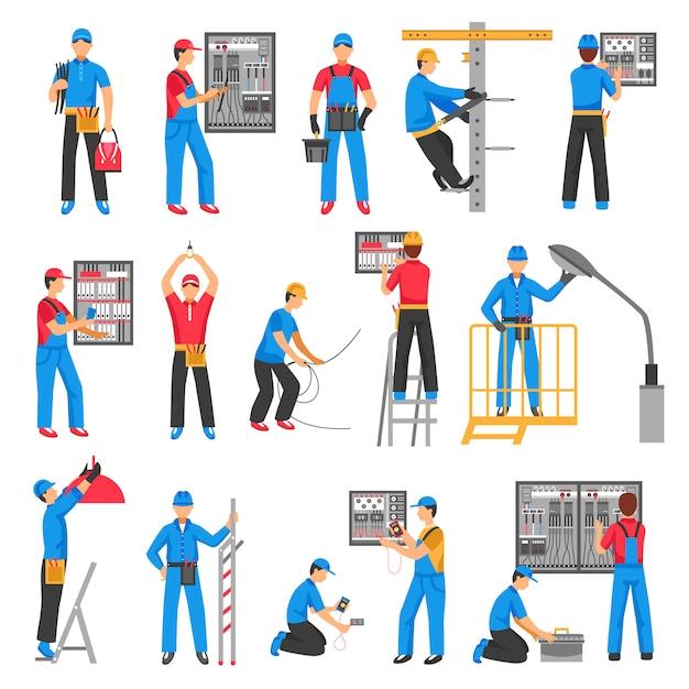 Zestaw Ikon Dekoracyjne Elektryczne Ludzi Darmowych Wektorów