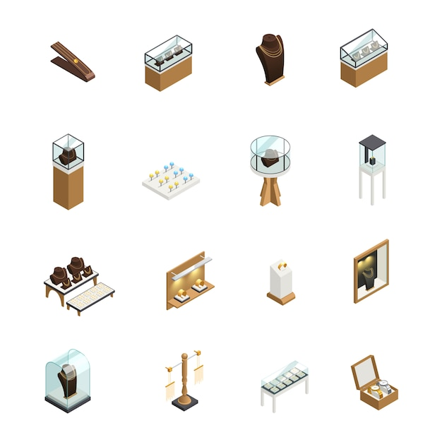 Zestaw ikon dekoracyjnych biżuterii z elementami liczników sklepowych prezentuje manekin na cokole Darmowych Wektorów