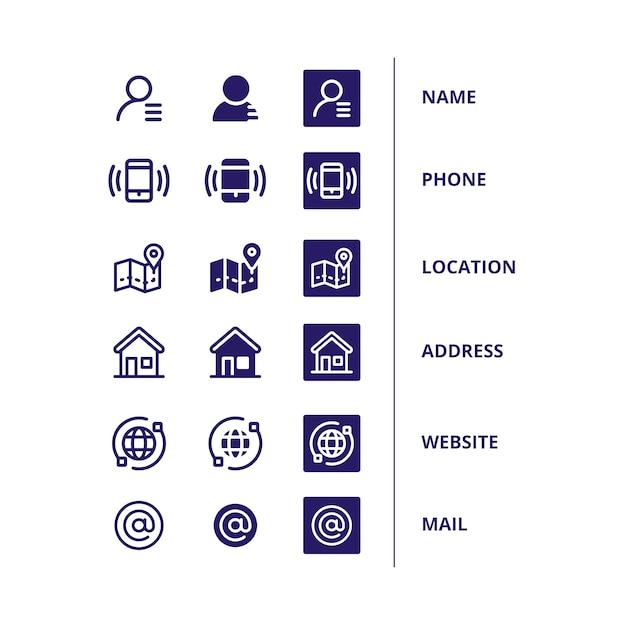 Zestaw ikon dla wizytówki Darmowych Wektorów