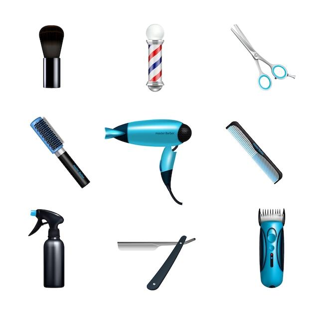 Zestaw ikon dla zakładów fryzjerskich Darmowych Wektorów