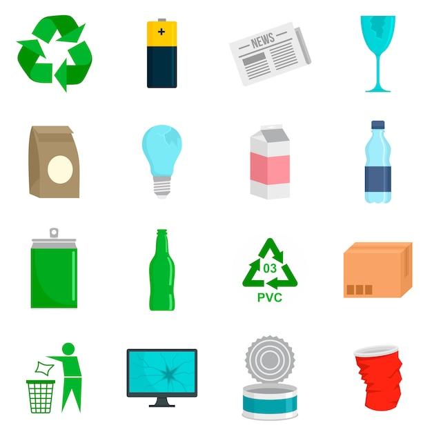 Zestaw Ikon Dnia Recyklingu Premium Wektorów