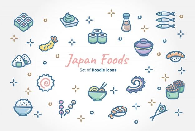Zestaw ikon doodle żywności japonii Premium Wektorów