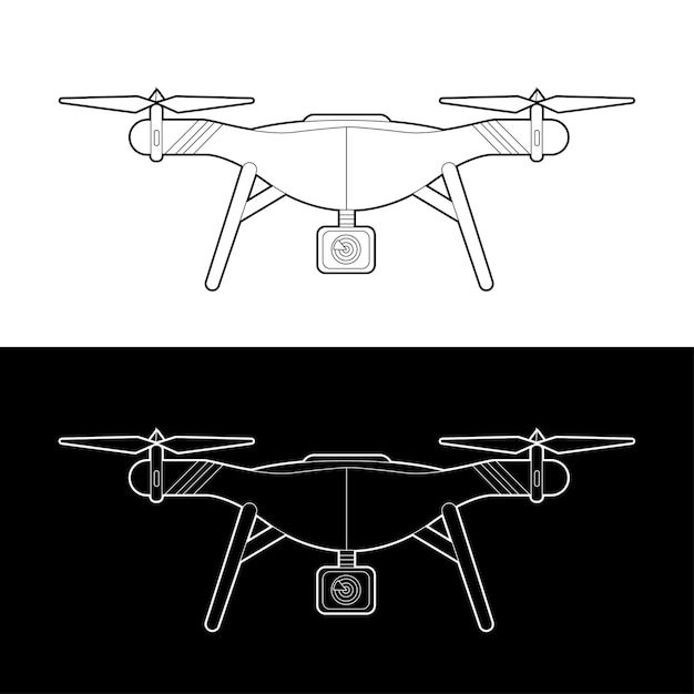 Zestaw Ikon Dronów. Graficzne Drony Czarno-biały Kontur Kontur Obrysu Ilustrują Premium Wektorów