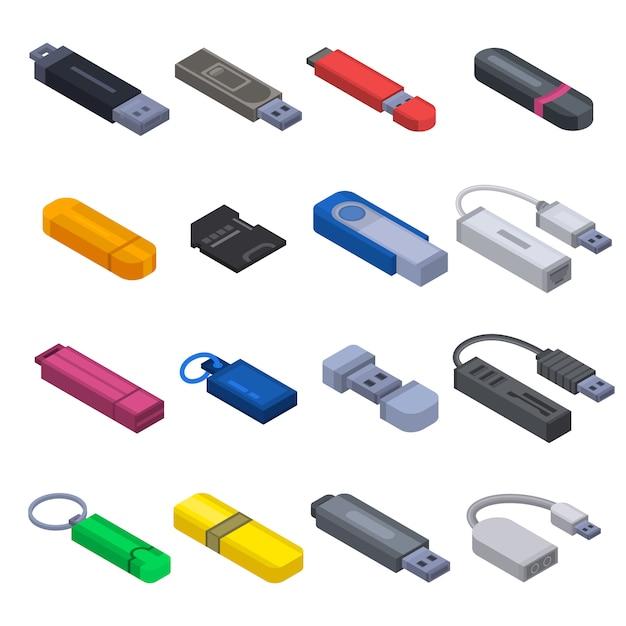 Zestaw ikon dysku flash. izometryczny zestaw ikon wektorowych dysku flash do projektowania stron internetowych na białym tle Premium Wektorów