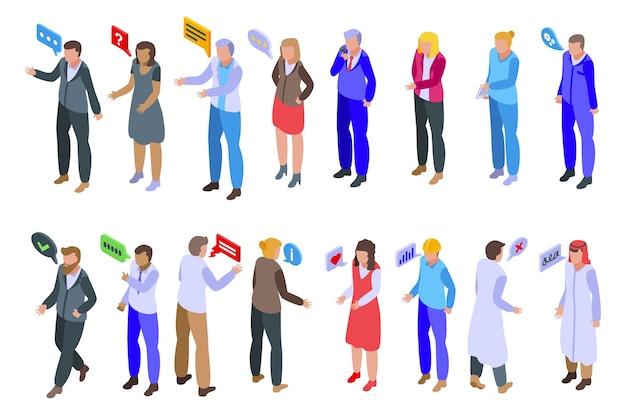 Zestaw Ikon Dyskusji. Izometryczny Zestaw Ikon Dyskusji Dla Sieci Web Na Białym Tle Premium Wektorów