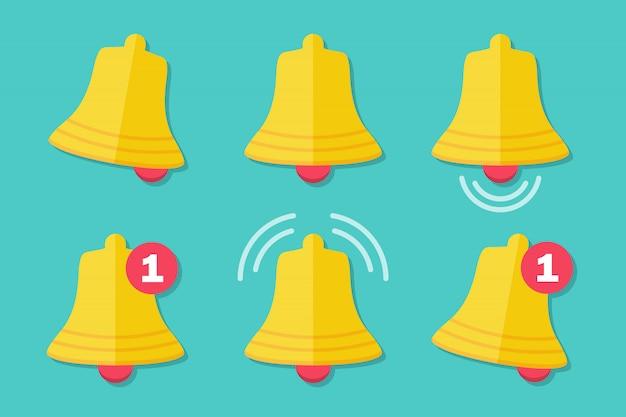 Zestaw Ikon Dzwonka Powiadomień W Płaskiej Konstrukcji Premium Wektorów