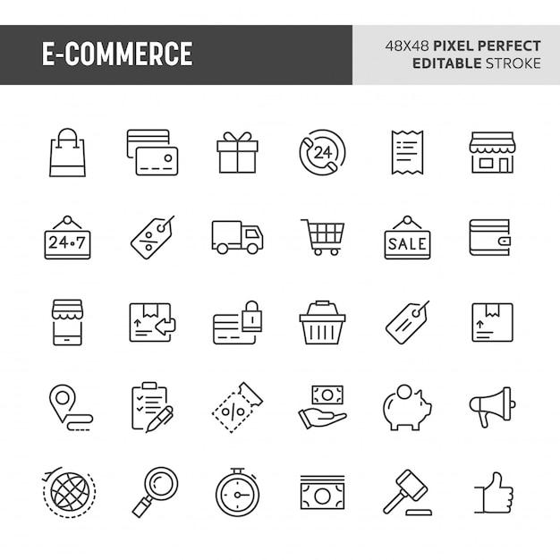 Zestaw Ikon E-commerce Premium Wektorów