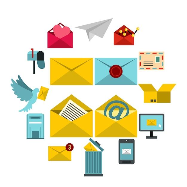 Zestaw ikon e-mail, płaski ctyle Premium Wektorów