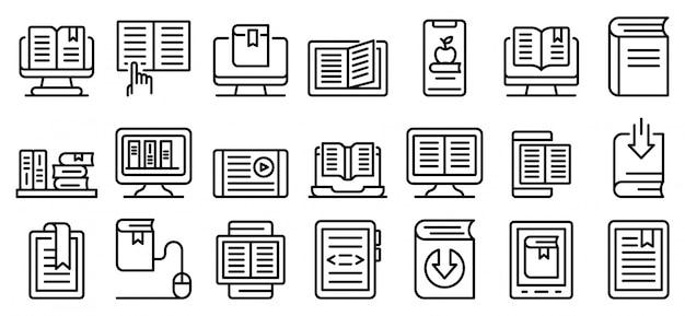 Zestaw ikon ebook, styl konturu Premium Wektorów