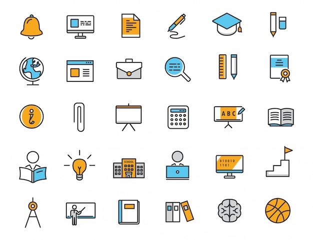 Zestaw Ikon Edukacji Liniowej Ikony Szkoły Premium Wektorów