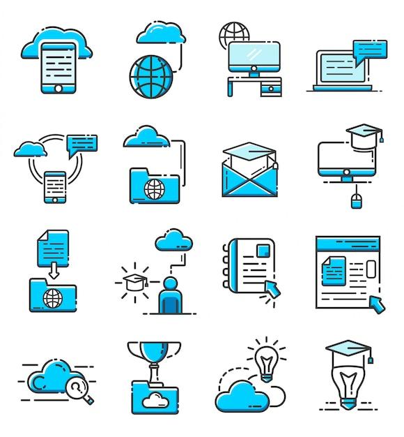 Zestaw ikon edukacji online Premium Wektorów
