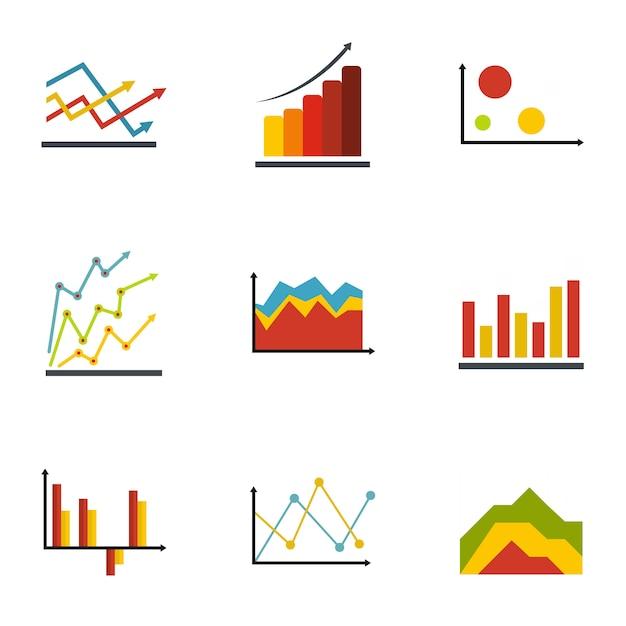 Zestaw Ikon Ekonomicznych Tabel. Płaski Zestaw 9 Ikon Wektorowych Tabeli Gospodarczej Premium Wektorów