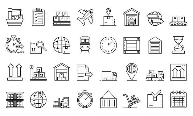 Zestaw ikon eksportu towarów, styl konspektu Premium Wektorów