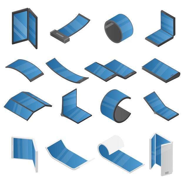 Zestaw Ikon Elastycznego Wyświetlania, Izometryczny Styl Premium Wektorów