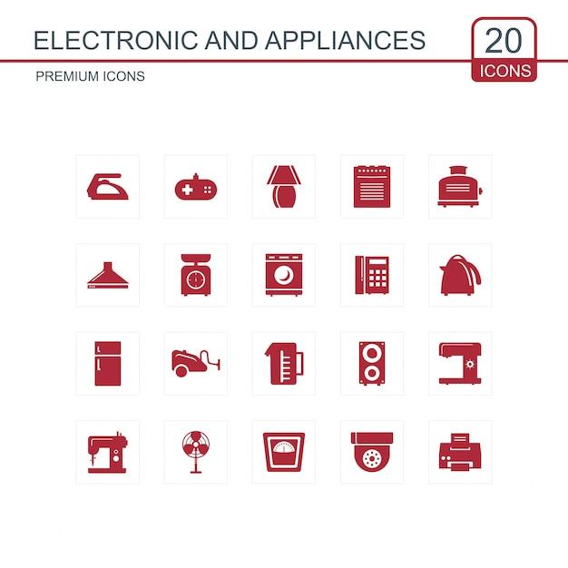 Zestaw Ikon Elektroniki I Urządzeń Premium Wektorów