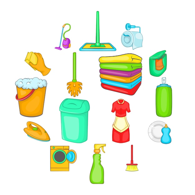 Zestaw ikon elementów gospodarstwa domowego, stylu cartoon Premium Wektorów