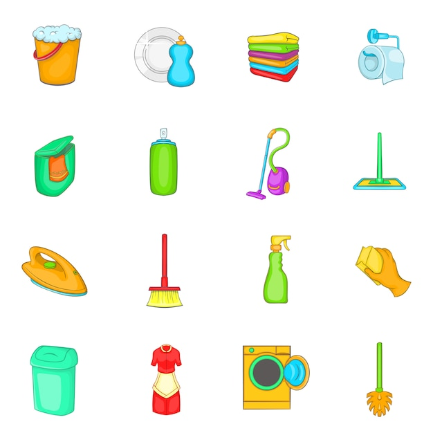 Zestaw ikon elementów gospodarstwa domowego Premium Wektorów
