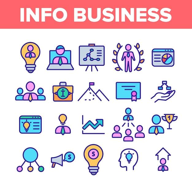 Zestaw ikon elementów kolekcji informacji biznesowych Premium Wektorów