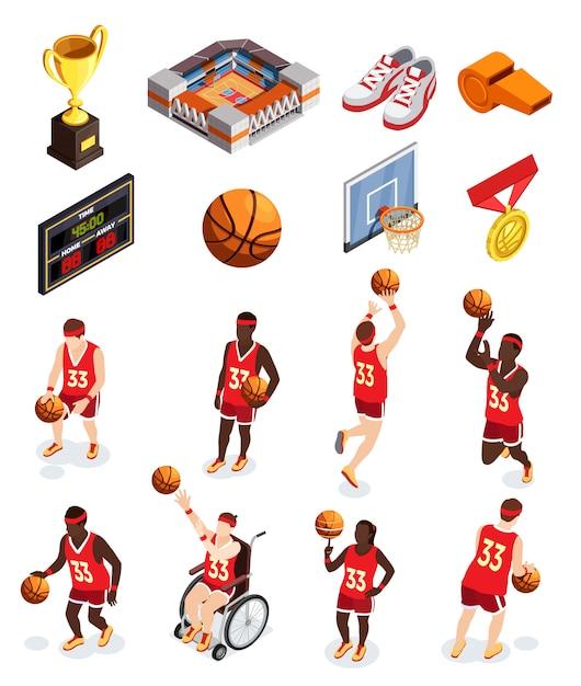 Zestaw ikon elementów koszykówki Darmowych Wektorów