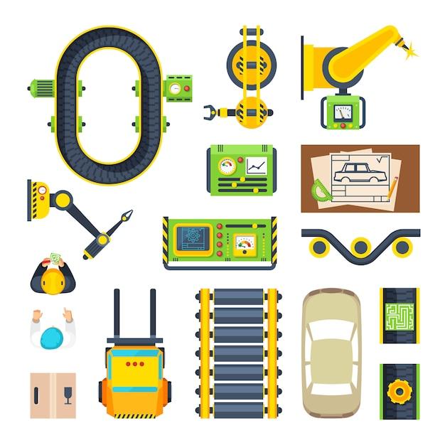 Zestaw ikon elementów linii produkcyjnej Darmowych Wektorów