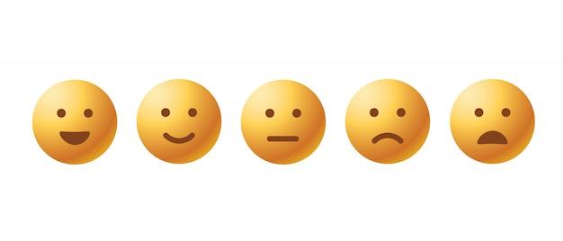 Zestaw Ikon Emotikonów Zwrotnych Premium Wektorów