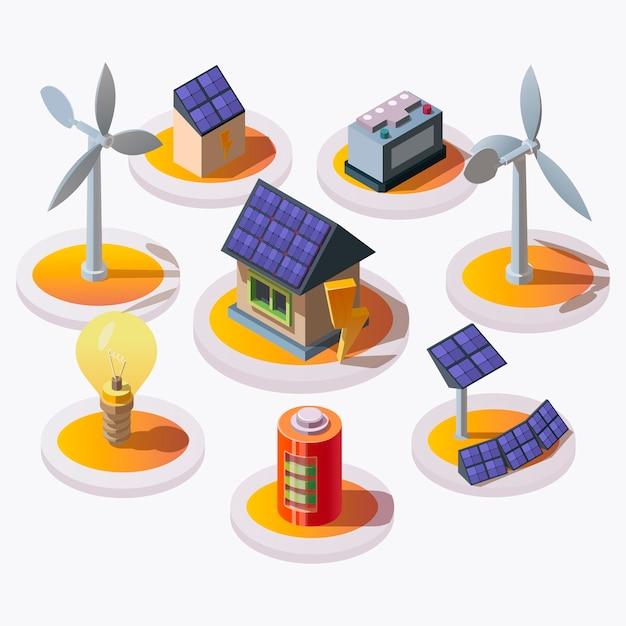 Zestaw Ikon Energii Elektrycznej W Stylu Izometrycznym Darmowych Wektorów