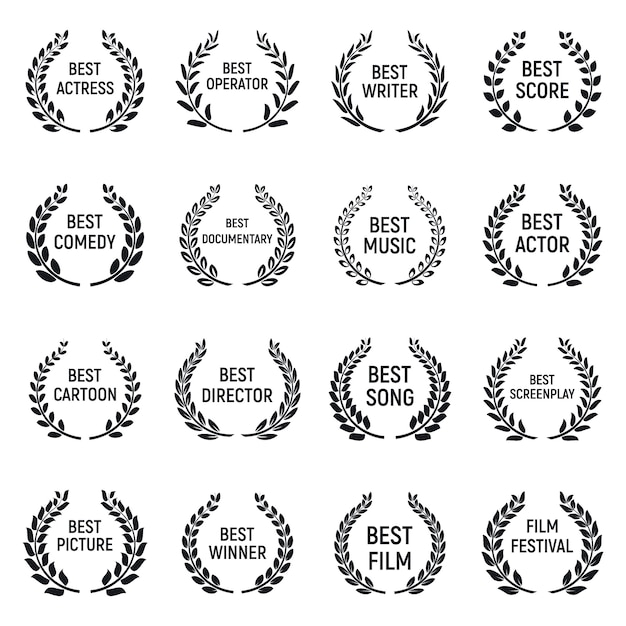 Zestaw ikon festiwalu filmowego, prosty styl Premium Wektorów