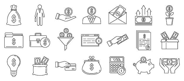 Zestaw Ikon Finansów Inwestora, Styl Konturu Premium Wektorów