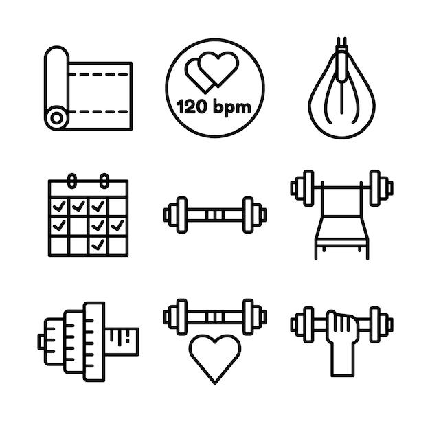 Zestaw ikon fitness i sport. symbole zdrowego stylu życia. Premium Wektorów