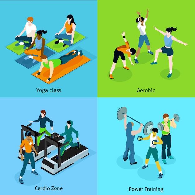 Zestaw ikon fitness izometryczny aerobik Darmowych Wektorów