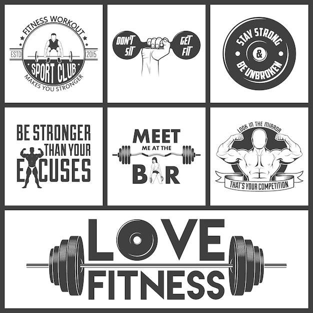 Zestaw Ikon Fitness. Premium Wektorów